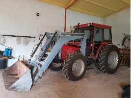 Tractores agrícolas Tractor Massey Fergunson mod 375 con pala y remolque más arados y parillas Massey Ferguson